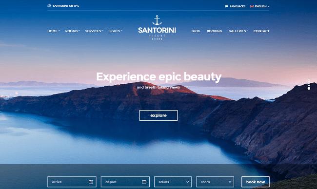 Santorini - theme WordPress hotel