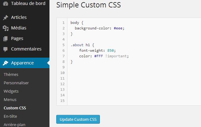 Personnaliser CSS WordPress avec le plugin Simple Custom CSS