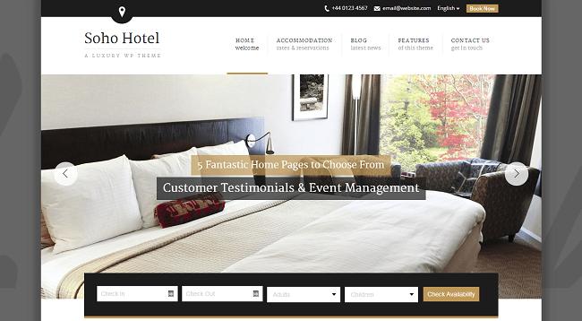 Soho Hotel - Thème WordPress pour Réservation d'Hôtel