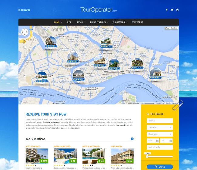Tour Operator est un thème WordPress pour Réservation de Voyage en Ligne