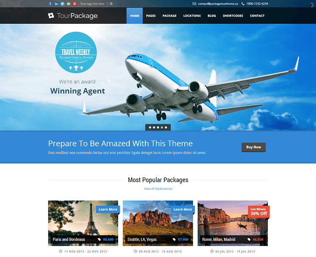 Tour Package - theme WordPress Reservation de Voyage