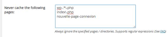 Ne pas mettre en cache les pages suivantes