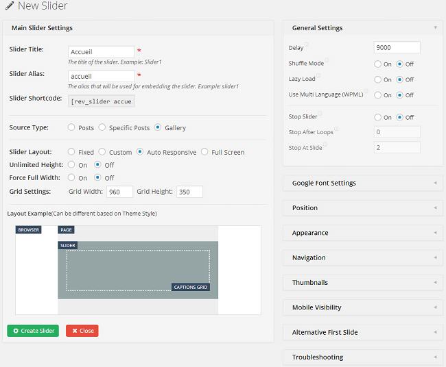 Créer un nouveau slider avec le plugin Revolution Slider
