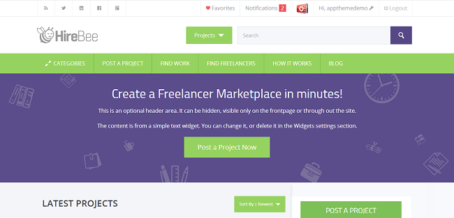 HireBee - WordPress freelance marketplace theme