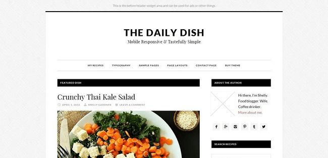 Daily Dish Pro : Theme WordPress Utilisant le Framework Genesis.