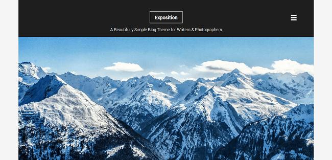 Exposition est un template WordPress pour Blogueur, Ecrivain.