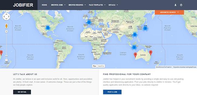 Jobifier : Template WordPress Responsive pour Annonces d'Offre d'Emploi