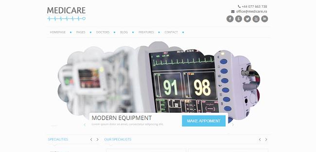 Medicare : Theme WordPress pour mettre en place un site médical