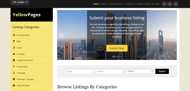 YellowPages : Theme WordPress pour créer un site annuaire