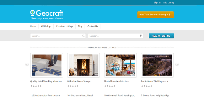 Geocraft : Directory WordPress Theme
