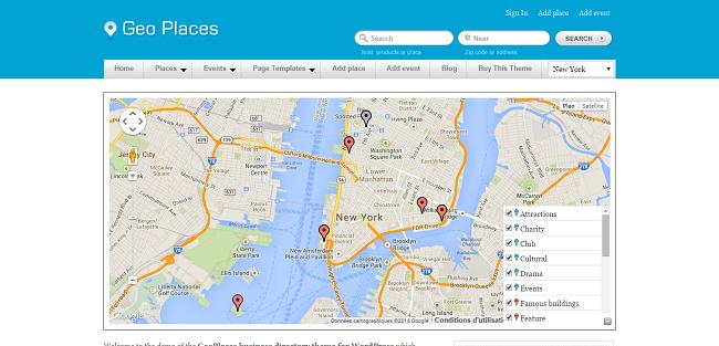 Geo Places : Theme WordPress Annuaire pour les Villes
