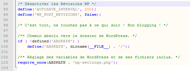 Desactiver revisions wordpress