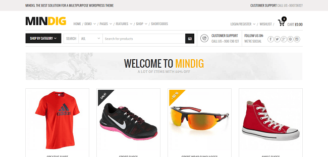 Mindig : Theme WordPress Flat pour site ecommerce