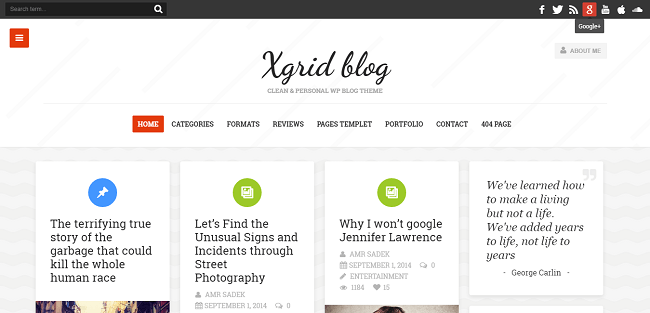 xGrid - Theme WordPress Blog Personnel en Grille