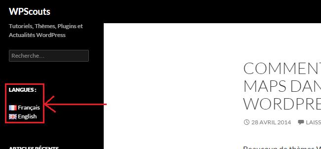 Widget de langues - Plugin Polylang