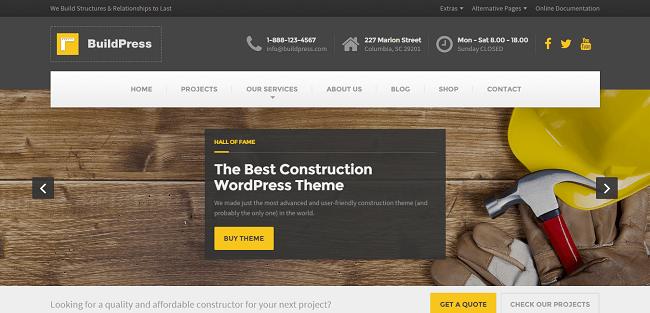 BuildPress : Theme WordPress pour Société de Bâtiment