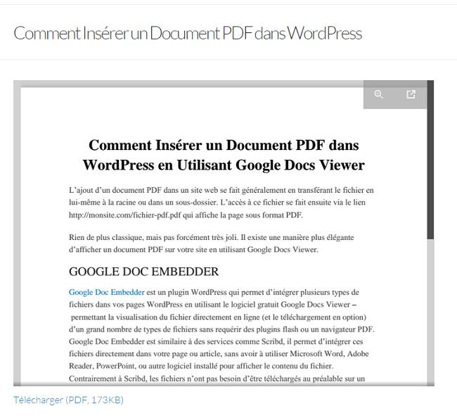 Affichage du Fichier PDF intégré dans un Article WordPress