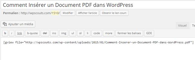 Aperçu du Raccourci pour l'intégration d'un document PDF dans WordPress