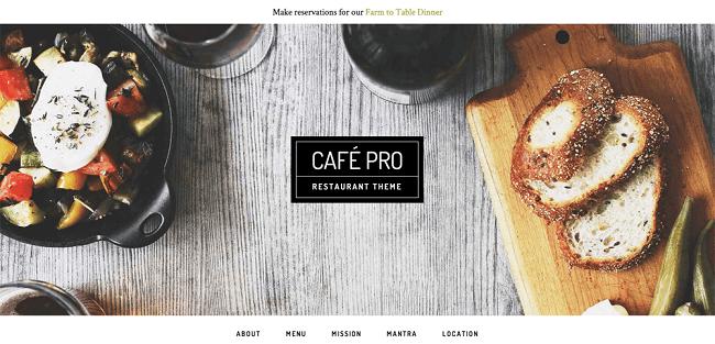 Café Pro : Template WordPress pour Restaurant mais aussi pour Business