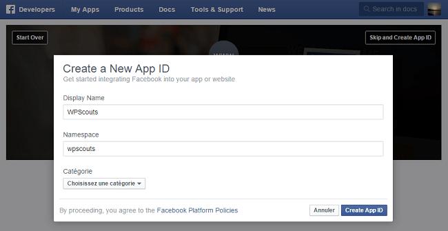 Créer nouvelle App ID Facebook