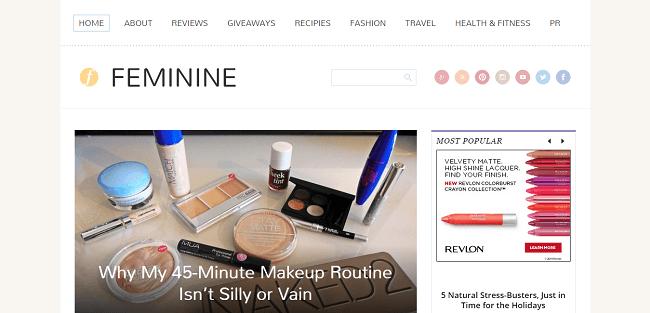 Feminine : Theme WordPress pour Blog Féminin