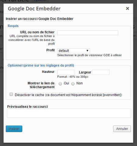 Fenêtre Google Doc Embedder