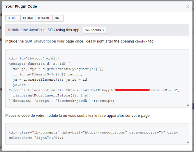 Code de la Comments Box Facebook