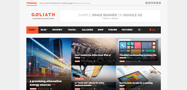 Goliath : Template WordPress de Reviews Magazine & News Optimisé pour les Publicités