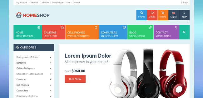 Home Shop : Template WordPress eCommerce