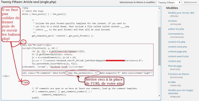 Comment insérer le code des commentaires Facebook dans le fichier single.php