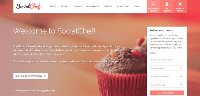 SocialChef : Template WordPress Recettes de cuisine