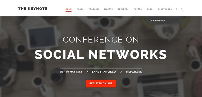 The Keynote est un theme WordPress pour Conférences et Meetings