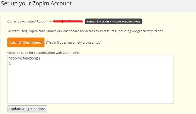 Page du plugin Zopim