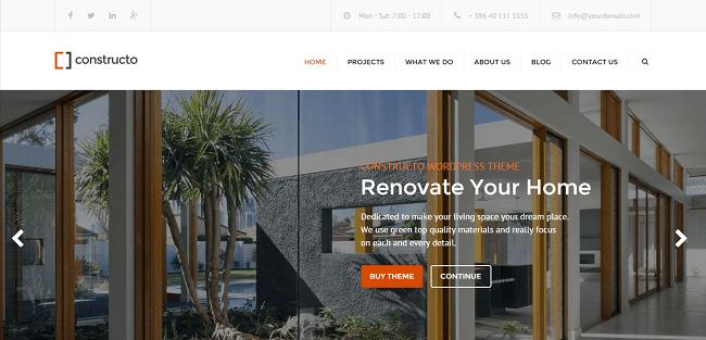 Constructo - Theme WordPress pour société de bâtiment