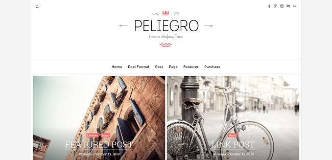 Peliegro - Theme WordPress Blog Personnel