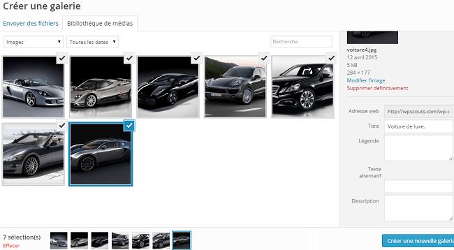 Sélection des images de la galerie WordPress