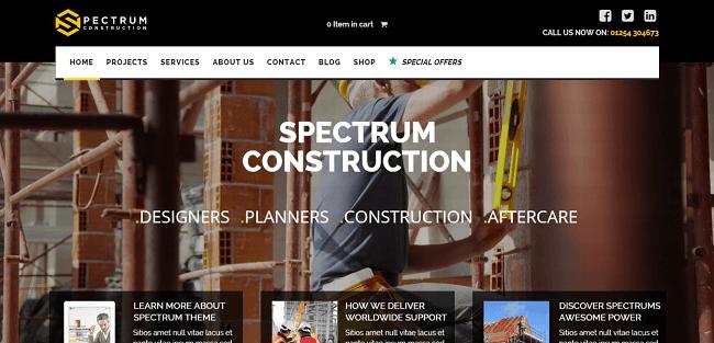 Spectrum : Theme WordPress pour Bâtiment, Plombier, Peintre, Designer, etc.