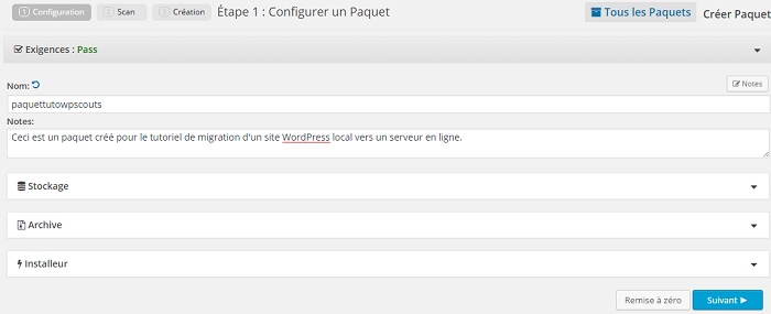 Configuration du paquet Duplicator