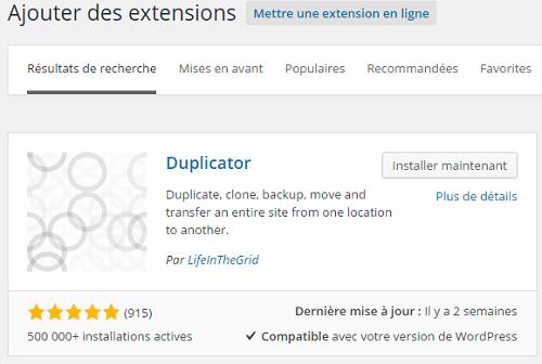 Installer le plugin Duplicator