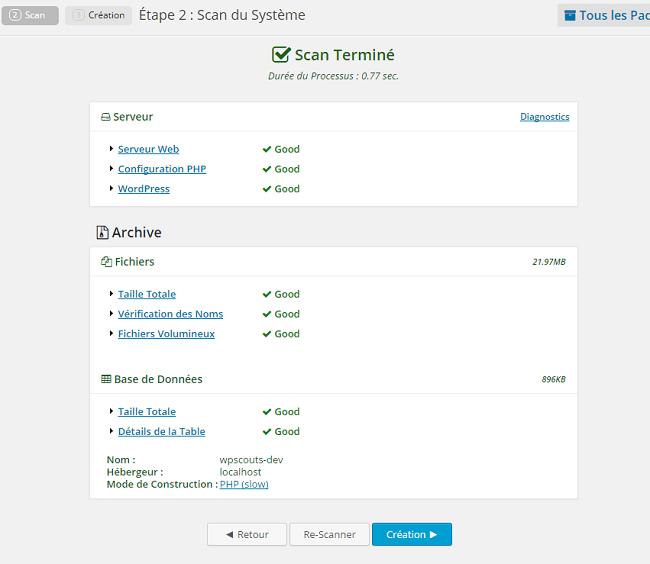 Scan du système avec Duplicator