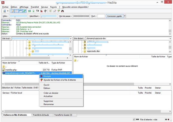 Transfert des fichiers vers le site distant via FTP
