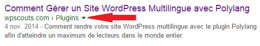 Fil d'Ariane sur Google