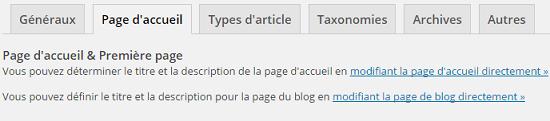 Onlget Page d'accueil dans WordPress SEO