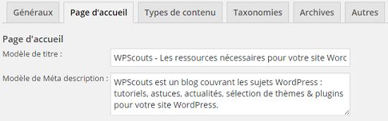 Modèle de titre et méta description pour la page d'accueil