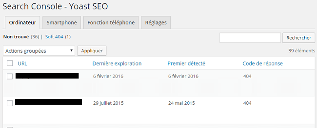Search Console, erreurs.