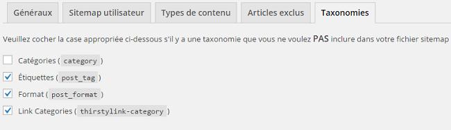 Les taxonomies dans le fichier sitemaps