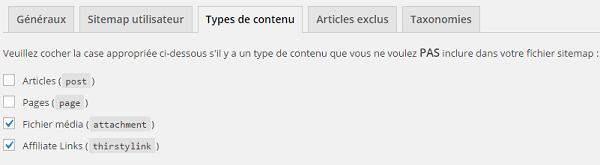 Les types de contenu exclus du sitempas