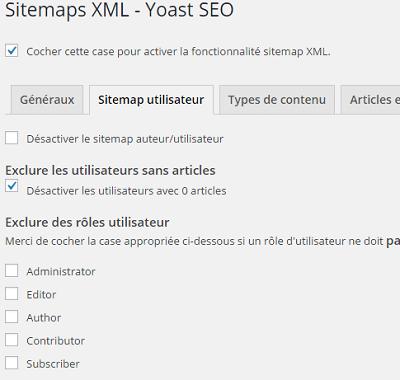Sitemaps utilisateur dans Yoast SEO