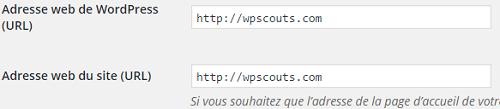 Réglages de l'URL du site