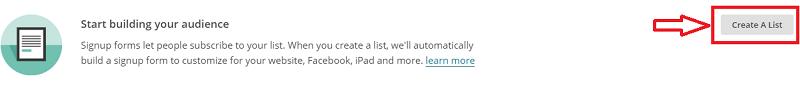 """Bouton """"Create A List"""" dans Mailchimp"""